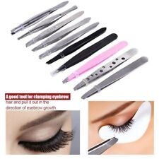 10Pcs Tweezers Set Professional Stainless Steel Eyebrow Hair Pluckers Clip Kit