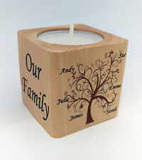 Tea Light Candle Holder Personalised Family Tree Children Gift Mother's Day Love