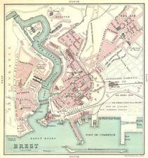 Brest ville plan de la ville. finistère 1914 old antique map carte