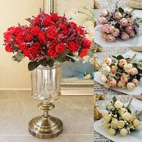1Bouquet 15 Heads Artifical Rose Silk Flower Wedding Party Decor Gift  DIY Home