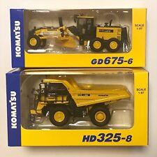 Komatsu Official Diecast Model Motor Grader GD675-6 HD325-8 dump truck 1/87 2set