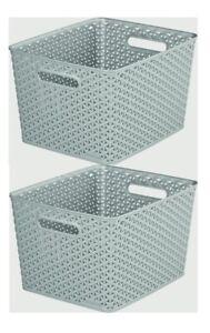 2 Grey 18L Curver Nestable Plastic Rattan Storage Basket Shelf Tray 35.5cm