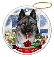 Norwegian Elkhound Dog Porcelain Ornament Pet Gift 'Santa.. I Can Explain!'