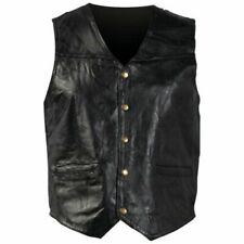 Small Defect - Motorcycle Vest - Black Leather - Men - Giovanni Navarre