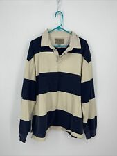 New listing Vintage LL Bean Rugby Polo Shirt Navy Tan Striped Long Sleeve Collared Size XXL
