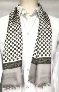 Mens Vintage Silk Style Scarf Paisley Patterned Retro Cravat Necktie