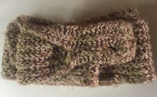 Vtg 80s Cream Brown Wool Hand Knitted Scarf Fingerless Gloves Novelty Onesize