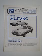 1979 FORD MUSTANG AND MUSTANG COBRA DEALER ONLY FACTS BULLETIN ALBUM SUPPLEMENT