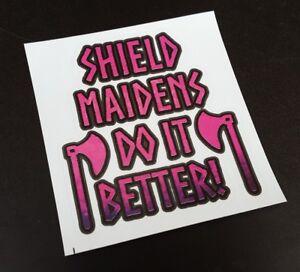 Precut Viking Shield Maiden Sticker / Decal, Odinist, Norse, Pagan, Lagertha