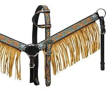 NEW Horse Show HEAD STALL REINS & BREAST COLLAR Turquoise Leahter Fringe Showman