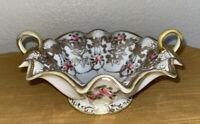 Hand Painted Shimamura Nippon Era Pink Rose & Gold Moriage Gilt Pedestal Bowl