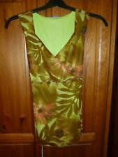 Pretty *NOPPIES MATERNITY TOP* Large Blouse Vest Floral Crepe Lined Brown Green