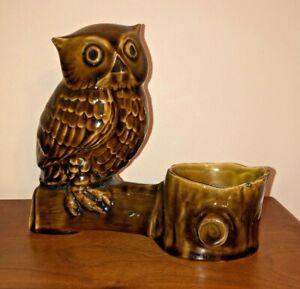 Vintage 1970s Portugese Pottery Owl Planter Candleholder,MCM Retro