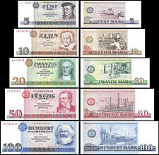 East Germany 5 to 100 Mark 5 Pieces(PCS)Full Set, 1971-1975, P-27a to P-31a, UNC