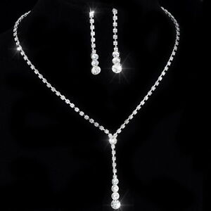 SILVER PLATED CLEAR CRYSTAL KPW4 TENNIS STYLE NECKLACE  EARRINGS SET