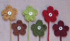 x6 Crochet Flowers appliques AUTUMN MIX w/PEARL Button embellishments toppers