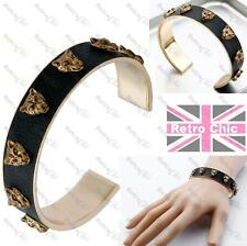 LEOPARD cat head PU LEATHER STUD BANGLE punk studded BRACELET BLACK/GOLD PLT
