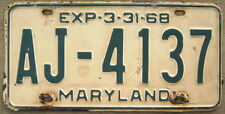 1968 MARYLAND LICENSE PLATE # AJ-4137  PART YEAR PLATE