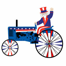 """Uncle Sam on a Patriotic Farm Tractor Staked Wind Spinner (22"""" Size) PR 26851"""