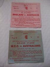 England V Australia + M.C.C.V Australians Grand Stand Tickets For 1972
