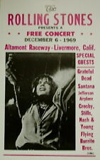 Rolling Stones Concert Poster 1969 Altamont Raceway w/ Grateful Dead Santana ...