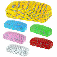 Womens Glitter Perforated Leather Clam Shell Eye Wear Hard Case
