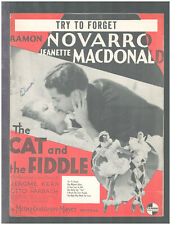 CAT AND THE FIDDLE 1934 Try To Forget NOVARRO/MacDONALD Movie Sheet Music