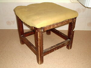 1960'S OLD BADLY REPAIRED WOODEN STOOL COFFEE TABLE 12 in SQUARE TOP 11 IN HIGH