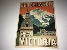 VINTAGE INTERLAKEN GRAND HOTEL VICTORIA LUGGAGE LABEL - SWITZERLAND