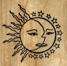 "mounted rubber stamp   Sun, Moon, Stars   wood mount 3"" X 3"""