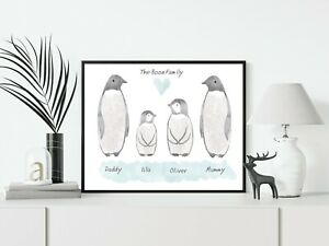 Penguin Family Birthday Gift Personalised A4 Word Art Home Print Decor Keepsake