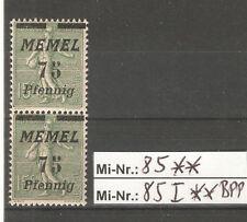 Memel Mi-Nr.: 85 und 85 I sauber postfrisches Typenpaar gepr. Dr.Petersen.BPP