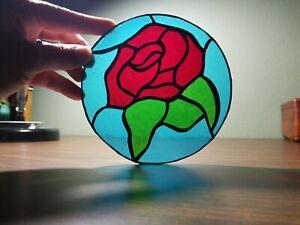 "Rose Bud - Stained Glass Suncatcher - Beautiful 6"" round window decor"