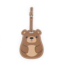 New LUGGAGE TAG Travel Bag ID Pouch Cover Case WILD BEAR Vegan Leather Baggage