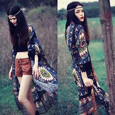 Sexy Women Boho Kimono Cardigan Chiffon Tassel Long Beach Cover Up Tops Shirt