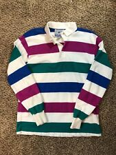 Lands' End Men's Authentic Rugby Polo Shirt Top Long Sleeve Sz L Clothes