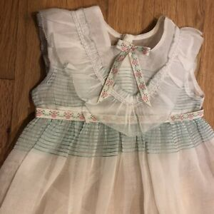 Vintage Girls Organdy Sheer White Green Embroidery Ruffles Party Dress