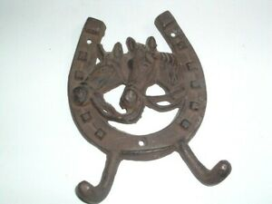 VINTAGE CAST IRON HORSE AND HORSE SHOE TOWEL OR COAT HANGING HOOK