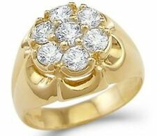Huge 14K Yellow Gold Fn 2.00 Ct White Diamond Men's Cluster Ring Sizable
