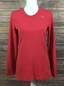 Nike Womens Dri Fit Long Sleeve Cotton Tee Shirt Medium Pink Stretch Casual H44