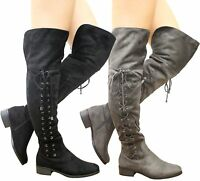 New Ladies Womens Stretch Over Knee Boots Thigh High Lace Up Low Heel Shoes Size