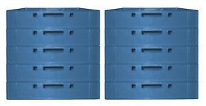 10 Stück Fleischerkisten Kunststoffkiste Fleischkisten E1 Blau NEU Gastlando