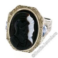 Antique Art Deco Men's 10k Gold Agate Double Cameo & Shield Cut Aquamarine Ring
