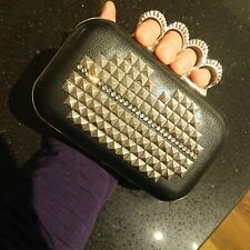 Black leather and silver stud lips clutch purse handbag diamante ring knuckle