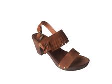 Sandalias de mujer en piel con flecos color marron