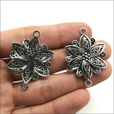 10pcs Flower Antique Silver Charms Pendants DIY for Jewelry Making Connector