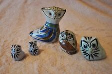 Lot of 5 Ceramic Owls Hand Painted Pottery Sculpture Tonala Mexico Folk Art