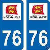 2 STICKERS 76 style PLAQUE D'IMMATRICULATION Département 76 Région NORMANDIE