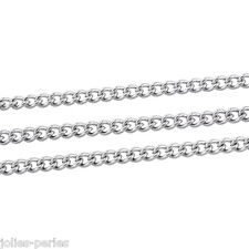 JP 10M Silver Tone Stainless Steel Link-Opened Curb Chains Findings 3x2mm