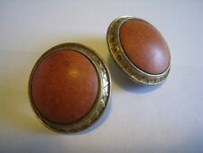 Vintage Gold Tone Clip Earrings With Orange-Brown Plastic Stones, Unmarked